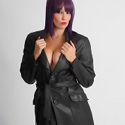 Sammi B is topless under her lengthy leather coat
