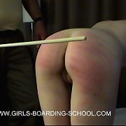 Skinny schoolgirl spanked and caned on her youthful bared ass