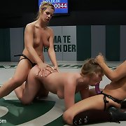 Two sexy blonds battle it out in non-scripted wrestling to see who acquires dominated & fucked like a loser