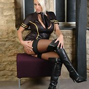 A very hot golden-haired having some enjoyment with this naughty leather uniform