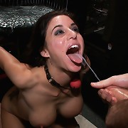 Bound busty Gia gets ass fucked in public.
