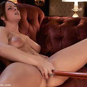 Brunette with perfect natural whoppers machine drilled until her vagina is creaming wet cum, takes darksome 10-pounder unfathomable in her pink pussy, moans with pleasure.