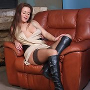 Sexy nylons accompany these slutty brunettes hawt leather boots