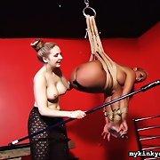 Mistress Chanta Rose spanks bdsm area maid Maxine X