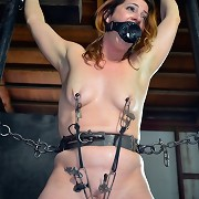 Slavebitch Cici Rhodes is caged being afraid of the clutches of PD