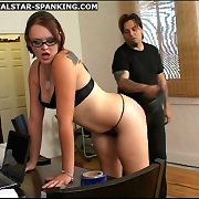 Pretty young gal is spanked and belted in majority humiliating positions