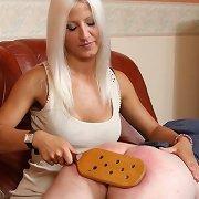 Blonde wife paddled bad husband