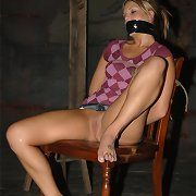 Hot golden-haired was tied and gagged