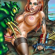 Fantasy monsters seduce comic book girls.