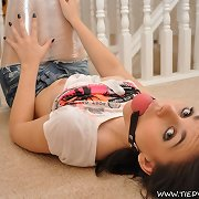 Kacey the bound Virgin whore wrapped in plastic and gagged