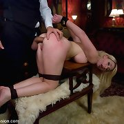 The Butler takes revenge with ass fucking mistress in restraints.
