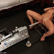 Lesbian Haile James fresh girl miniature waist, natural DD tits, dong swallowing pussy, cuming with machines railing her tight pussy