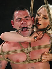 The blonde mistress tied and smothered bad boy