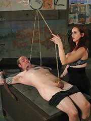 Redhead domina tuned man into bondage, sat on him and fucked him