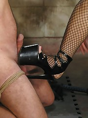 Mistress tormented slaveboy and sat on him