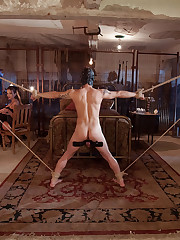 Bounded man was fucking in his ass hole by mistress.