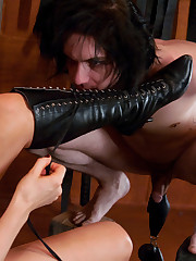 Slave was bounded, beaten by sexy blond and lick her.