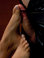 Slave man was fucked with artificial vagina by hot brunet.