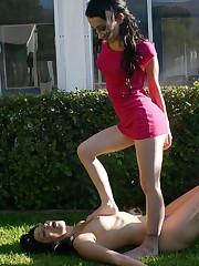 Slavegirl lick boots and gets trampled outdoor