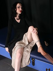 Mina catches a boy sniffing her shoes and stockings, and makes him her footboy.