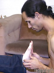 Sybil releases her foot slave from his cage and tells him to go and get into his posi....