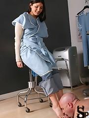 Nurse Jade enters the doctor's exam room to discuss a patient's outstanding debt ....