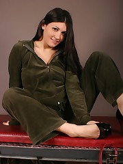 The patient turned foot slave enters a room where Jade is reclining on a bench. She makes h....
