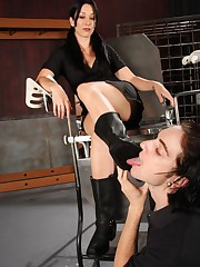 Submissive boy licked boots