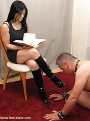 Malesub licks the boots of his mistress