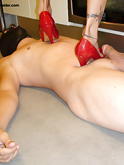 Trampling with red heels