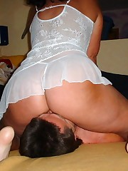 Big ass chick sat on slave