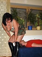 Military mistress sat on slave