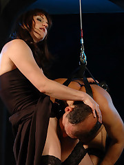Domme has a man strapped and suspended and drills his ass with her special fuck toys