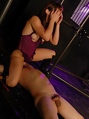 Mistress sits on restrained slave`s face, rides his cock and punishes it with no mercy