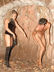 Blonde dominatrix takes her handsome slave to the ruins for a kinky femdom punishment session