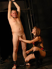 Mistress punishes her slave`s cock, then makes him cum and lick the sticky jizm off her tits