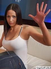 Latina strapon fucks her man's asshole