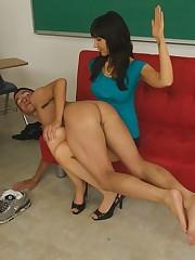 Blonde femdom dominates her man's ass