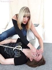 Hot blonde smothered goy