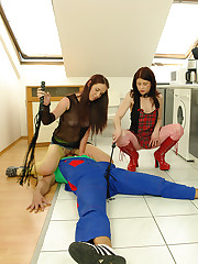 2 young dominatrixes practice their adeptness on some plumber