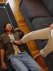 Slaveboy licked toes before trampling
