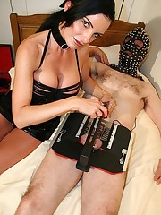 Mistress Carmen relishes the delicious torture of her slaves hard cock