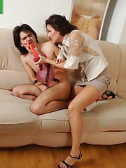 passionate strapon sex