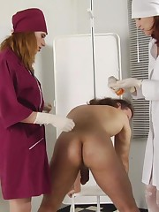 Tamed stallion in medical femdom captivity