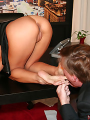 Ass, pussy and feet licking on the table