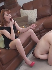 Chocolate loving Mistress uses nipple clams for her slave