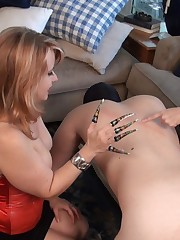 Two sluts were torturing slave's body with their nails.