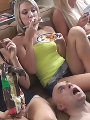 Girls were eating and tasteless pieces spited to slave's mouth.
