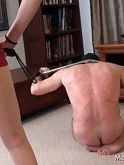 Poor slave gets really badly whipped by his Mistress