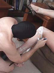 Hot blonde likes when slave shaving her legs
